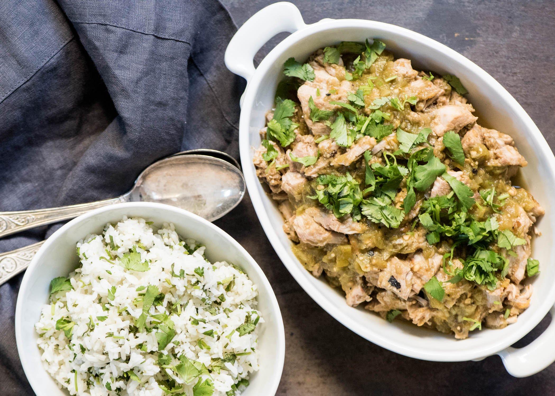 Slow Cooker Salsa Verde Pork | cookandsavor.com