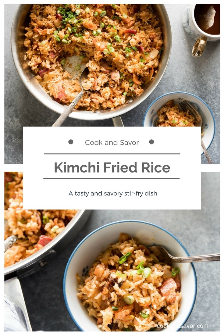 Kimchi Fried Rice - a tasty and savory stir-fry dish   cookandsavor.com