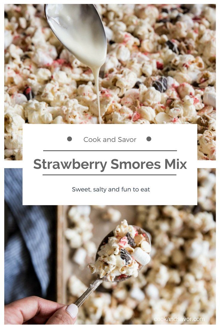 Strawberry Smores Mix - Sweet, Salty and fun to eat | cookandsavor.com