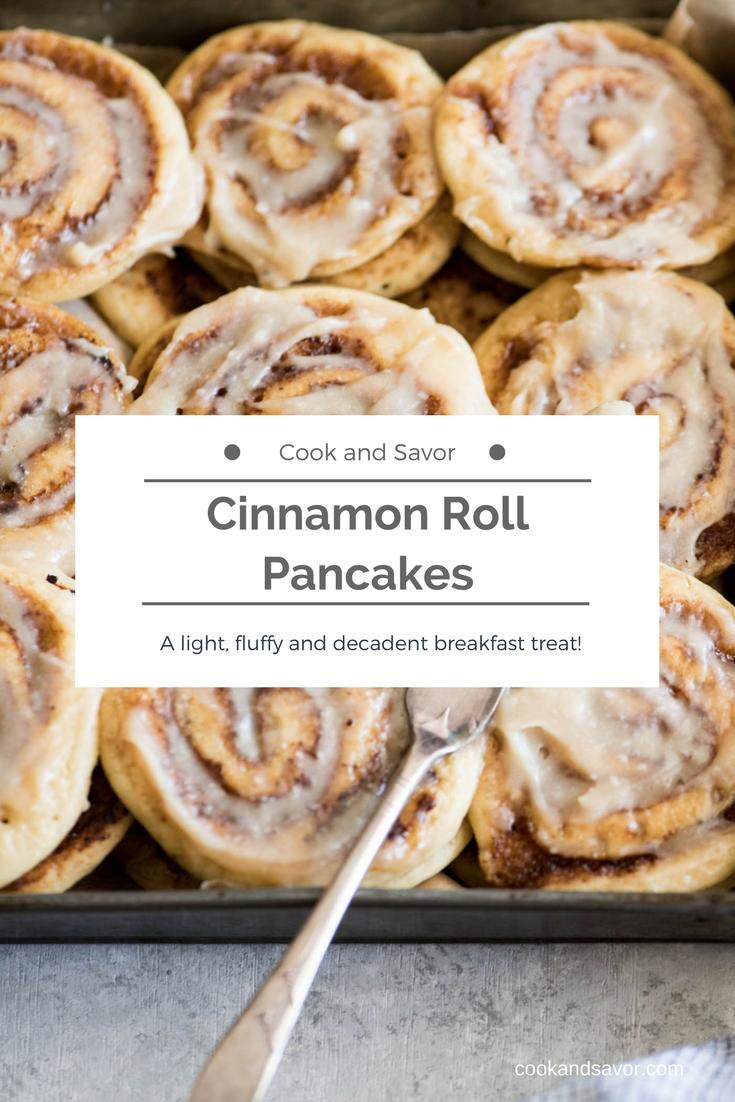 Cinnamon Roll Pancakes - A light, fluffy and decadent gluten-free breakfast treat | cookandsavor.com