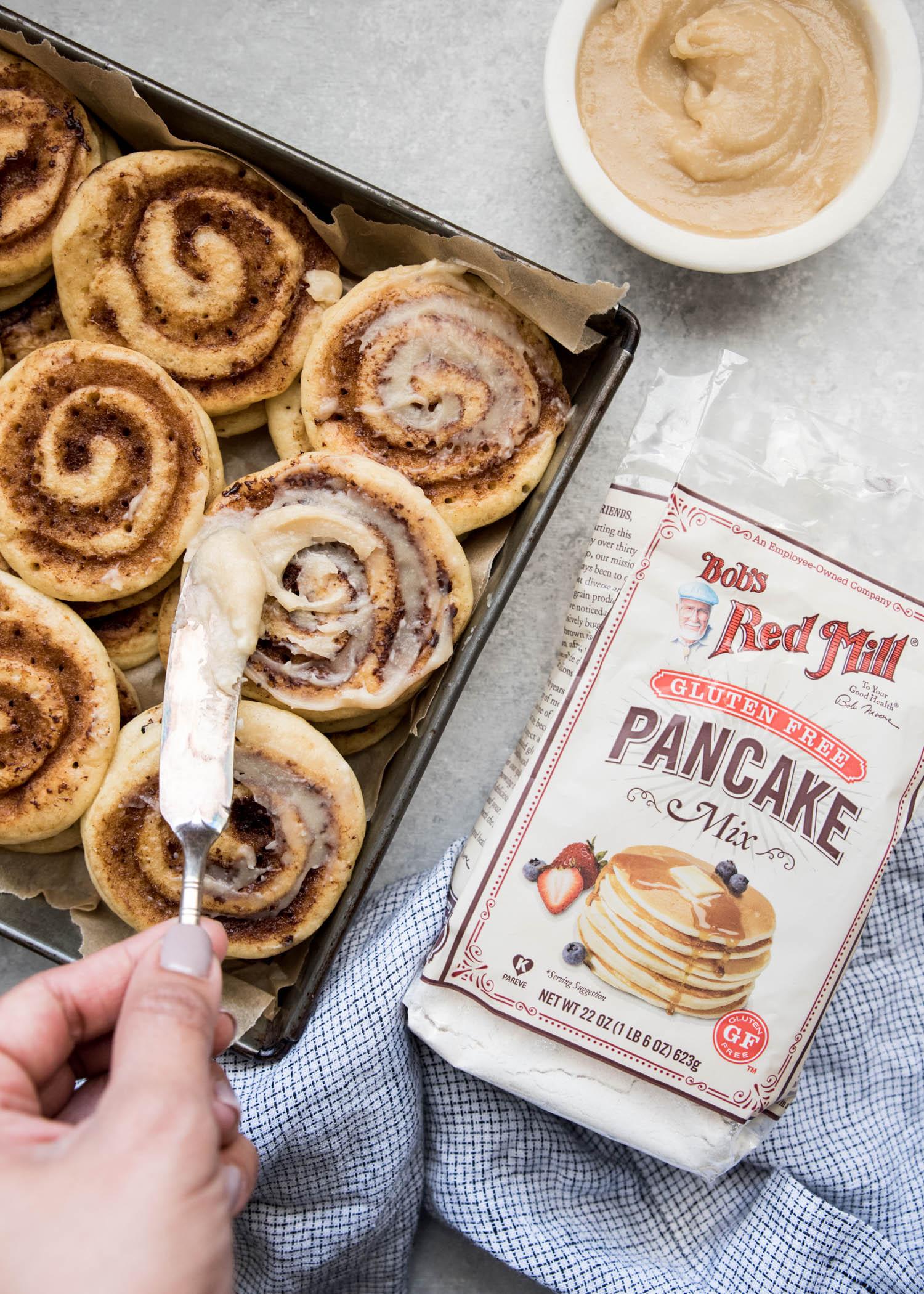 Gluten-Free Cinnamon Roll Pancakes | cookandsavor.com