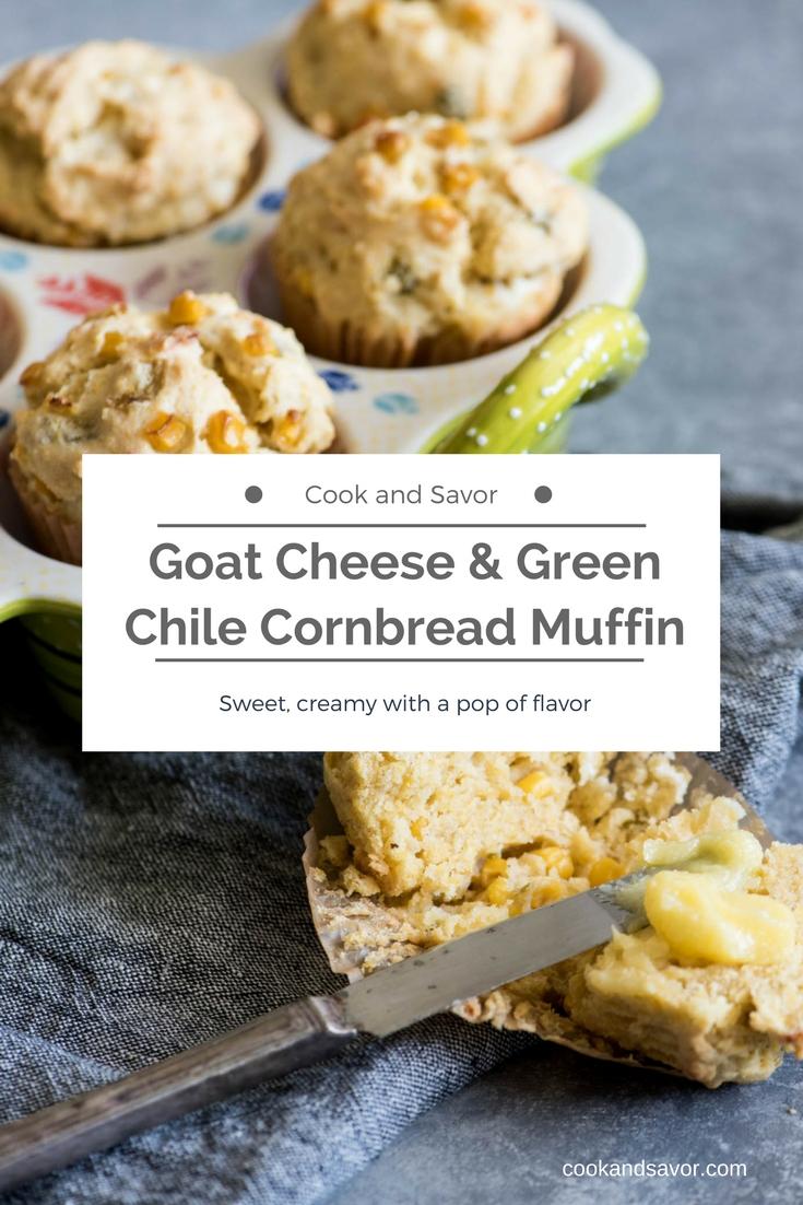 Goat Cheese and Green Chile Cornbread Muffins | cookandsavor.com